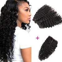 Wholesale India Wave - Perfect Quality 4 pcs lot Deep Wave India virgin Hair with Closure Free Middle 3 Part Double hair weaves