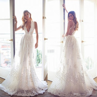Wholesale 2017 Bohemia Lace Wedding Dresses Deep V Neck Sleeveless A Line Wedding Gowns Vintage Long Beach Lurelly Newest Plus Size Bridal Dress