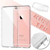 iphone grenzfälle großhandel-Acryl harte Rückseite TPU weicher Rand ultra dünner transparenter freier Kristall mit Staubstecker-Abdeckungs-Fall für iPhone XS maximales XR X 8 7 6 6S plus 5 5S