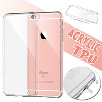 Wholesale Iphone Case Plug Dust - Acrylic Hard Back TPU Soft Border Ultra Thin Slim Transparent Clear Crystal With Dust Plug Cover Case Skin For iPhone 8 7 Plus 6 6s SE 5S 5