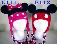 Wholesale Crochet Christmas Minnie - Mickey Minnie Crochet Knitted Hat Baby Boys Girls Winter Christmas Cap Newborn Infant Toddler Children Animal Beanie 100% Cotton Photo Props