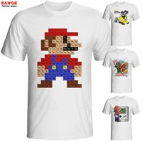 Wholesale Super Mario Tee - Wholesale- Super Mario T Shirt Parody Design Fashion Creative Popular Game T-shirt Cool Casual Novelty Funny Tshirt Style Tee