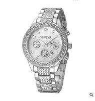 Wholesale Geneva Classic - Brand Watches For Women Diamond Bracelet Quartz Watch Women's Dress Clock Geneva Classic Mens Luxury Stainless Steel Watch