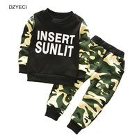 Wholesale Korean Suit For Kids - Winter Autumn Sport Suit For Baby Girl Boy Set Clothes Korean Children Camouflage Letter T Shirt+Pant Trouser 2PCS Outfit Kid Tracksuit