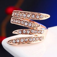Wholesale newest wing jewelry resale online - Newest Angel s Wing Engagement Rings K Rose Gold Plating and Pave Czech Crystals Fashion Jewelry anillos wedding ring