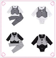 Wholesale Baby Romper Vest Suit - Mikrdoo Hot Baby Boy Clothes Suit Vest+Bow Shirt Romper+Pants Fake 2 Pieces Suits Formal Gentleman Cotton Wedding Clothing Top Set Age 0-2 T