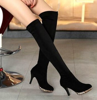 Wholesale Cheap Black Patent Heels - Black New Arrival Hot Sale Specials Super Fashion Cheap Black Knight Repair Legs Scrub Biker Heels Knee Boots EU34-43