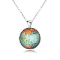 Wholesale Unique Maps - European Bohemia Unique Globe Map Pendant Necklace Silver Color Simple Long Necklaces For Women Fashion Jewelry Gifts 9115