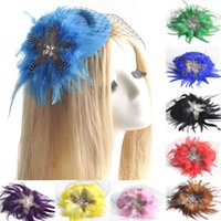 Wholesale African Feather Hat - 9pcs lot gift handmade ladies headwear bridal wedding party proms hens accessory mini top hat cap feather fascinator hair clip wholesale