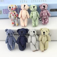 Wholesale Teddy Bear Couple Cartoon - Wholesale- New arrivel 20pcs Mini Joint Bear denim teddy bears Plush toys Wedding gifts Kids Cartoon toys Christmas gifts Couple Gifts