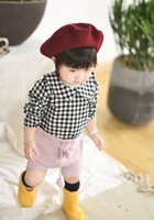Wholesale Button Down Back Shirt - Toddler kids shirts baby girls cotton plaid stripe floral blouses Autumn infants falbala lapel buttons back tops baby cute clothes C1205