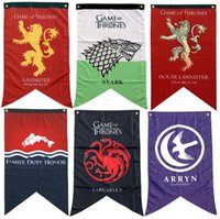 Wholesale Game Posters - Game of Thrones Flag Banner House Stark Lannister Greyjoy Arryn Flags Banners Printed Fabric Poster Collectible Accessories CCA7864 100pcs