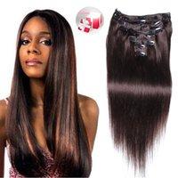 Wholesale Cheap Human Hair Long Extensions - Long Straight Clip Indian Human Hair Extension Women Hair Clip Ins Multi Natural Blonde Color Cheap Crochet Clip on Hair Extensions