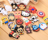Wholesale Wholesale Tin Model Cars - 19 Models Phone Accessories Cartoon Key Chain Rings Trinket Soft PVC Keychain Minions Marines Key Holder Key Chain Finder Souvenirs Gift