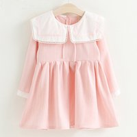 Wholesale Sailor Clothes For Girl - Girls Dress 2017 New Autumn Brand Baby Girls Sailor Collar Plaid Kids Dress Children Clothing Dress For 3-7 Years