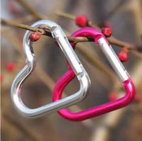 Wholesale Heart Shaped Hook - Heart Shaped Carabiner Aluminum Alloy Outdoor Hook Buckle for travelling,camping, hiking Colorful Key rings 4.7g