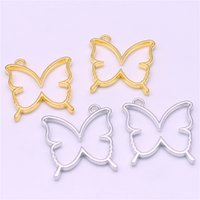 Wholesale Min Order Pcs - Sweet Bell Min order 12 pcs 33*35mm Three color Plated hollow Butterfly Charms Pendant Fit DIY Jewelry Findings D6037