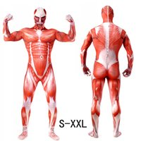 Wholesale Sexy Super Man Cosplay - Super High Quality Lycra Flexible Men Zentai Catsuit Muscle Stereoscopic Print Bodysuit Attack On Titan Male Halloween Cosplay