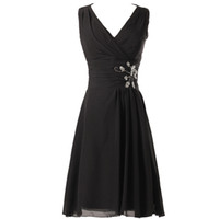 Wholesale short coctail - Prom Gowns Cocktail Evening Dresses 2016 Sexy V Neck Ruched Sequin Knee Length Coctail Dress Short Black Cocktail Party Dresses