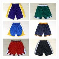 Wholesale Mens White Drawstring Pants - 2017 New Fashion Mens Basketball Shorts Breathable Pants Team White Red Blue Black Yellow Purple Green Basketball Jerseys Short Mix Order