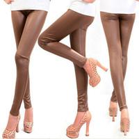 Wholesale Black Leggin - Wholesale- 2016 women sexy Black coffee Modal leggings leggin plus size girl pants Patent leggings free shipping