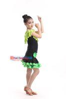 Wholesale latin ballroom dance dress girls - 100-160cm Children Robe De Danse Latine Fringe Latin Dress Girls Latin Dance Costumes Kids Latin Skirts Ballroom Tango Dancewear