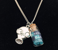 blue bath salts - Fashion The movie Breaking bad Inspired Jewelry crystal bath salt BR BA sky blue vial cork bottle Face necklace