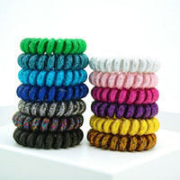 Wholesale Rubber Band Hair Designs - hairband hair bands rope elastic telephone wire spring design for Women girl Hair Accessories headwear holder rubber gum fabric shiny