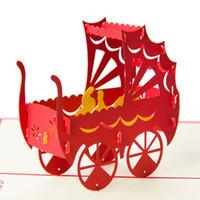 papier en papier bébé achat en gros de-Papier fait main Art sculpture 3D Pop UP carte Creative Cubic Baby Poussette Cartes de vœux GreetingGift cartes d'anniversaire 10pcs / lot