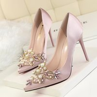 Wholesale Sexy Rhinestones Wedges - Elegant Lady Dress Shoes Sexy Women PU Leather High Heels Festival Party Wedding Shoes Bead Formal Pumps W16S191