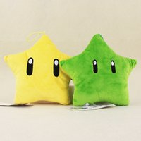 "Wholesale Mario Throw - Hot Sale 8"" 20cm Super Mario Bros 2 Colors Stars Pendant Doll Stuffed Soft Plush Throw Pillow Toys Kids Gifts"