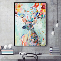Wholesale Simple Abstract Paintings Canvas - Christmas decoration painting simple style colored deer home decoration painted wall art painting
