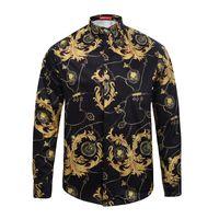 Wholesale dog dress shirt - Wholesale- new arrival Medusa Long sleeves shirt Harajuku Medusa gold chain Dog Rose print shirts Retro floral summer Men long sleeve shi