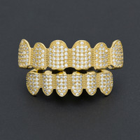 Wholesale Grill Fitting - New Custom Fit Silver Gold Color All Iced Out Luxury AAA Zircon Rhinestone Top & Bottom Gold Grillz set Hop HIP teeth Gift