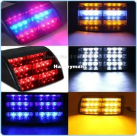 Wholesale Suction Cup Car Lights - 18 LED Car Emergency Vehicle Windshield Flash Warn Lamp Strobe Light Bar 12V 3led With Suction Cups 3 Modes White Amber Red Blue