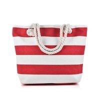 Wholesale Stripe Canvas Tote Beach Bags - Red Black White Stripes Beach Bag Light type Canvas Zipper Woman Handbag Ladies Sea Travel Bag Casual Totes Shoulder Bags Tote QQ2146