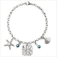 rüya gören deniz toptan satış-Kadın Moda Deniz Dreaming Dreaming Gümüş DENIZI rüya Yıldız Kabuk Inci Kolye Charms Bilezik