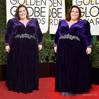 Wholesale Deep V Neck Award - New 2017 74th Golden Globe Awards Plus Size Velvet Celebrity Prom Dresses Long Sleeve Appliqued Purple Special Occasion Formal Evening Gowns