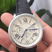 Wholesale Mens Sub Watch - All Sub-dials work Mens Fashion watch Luxury brand Stopwatch Leather Strap Quart watches For men male best gift High quality wristwatch