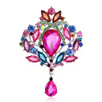Wholesale Wedding Crown Large - 5 Pcs   Lot 2017 Crown Rhinestones Women Brooches Various Colors Large Acrylic Crystal Vintage Drop Brooches Pins Fashion Jewelry wholesale