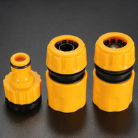 """Wholesale Wholesale Garden Hose Fittings - New Useful 3PC 1 2"""" 3 4'' Hose Pipe Fitting Set Quick Yellow Water Connector Adaptor Garden Lawn Tap"""