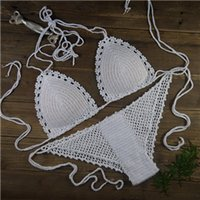 beyaz seksi bikini tabanları toptan satış-Beyaz Tığ Bikini Set - Seksi Plaj Mayo - ayarlanabilir boyutu - Tığ Örgü bikini Üst + alt Özel Renkler