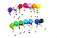 Wholesale Ski Card Holder - 27 Colors 50 pcs lot Retractable Ski Pass ID Card Badge Holder Reel Pull Key Name Tag Card Holder Recoil Reel For School Office Company