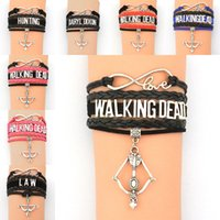 Wholesale Leather Bow Cuff Wholesale - Infinity Bracelets Multilayer The Walking Dead Bracelet Wristband cuff Arrow Bow Charm Pendants for Women Fashion Jewelry BY DHL 161855