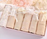 Wholesale Cotton Stripe Panties - 2017 Free Shipping Hot Women Casual Cotton Underwear Women Panties Stripe Briefs with Gift Boxes Calcinha Bragas Lingerie Cute Briefs