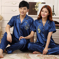 a3b78c7b74 Wholesale- Chinese Silk Pajamas For Women   Men Couples Matching Pajamas  Homewear Spring Autumn Long Sleeve Silk Satin Couple Pajama Sets