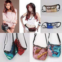 Wholesale Glitter Fabric Wholesalers - Mermaid Sequin Pocket Sequins Fashion Bags Glitter Purse Women Tote Storage Bag Crossbody HandBags Cosmetic Makeup Bag Waist bag