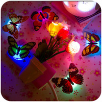 Wholesale Colorful Wall Lights - Colorful Butterfly Wall LED Night Lamp Fiber Optic Butterfly Night Light LED Room Decoration with Suction Pad Xmas Decor CYA2
