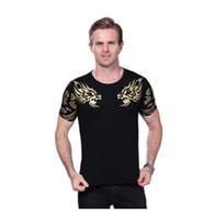Wholesale High End T Shirts - 2017 Summer New High-End Men Brand T-Shirt Fashion Slim Gold Dragon Printing T Shirt Plus Size Short-Sleeved Tee Shirt Men