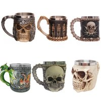 Wholesale Wall Faucet Stainless Steel - 400ml Novelty Medieval Dragon Mug Faucet Cup Double Walls Stainless Steel Coffee cups and mugs Copos tazas stainless with Handle